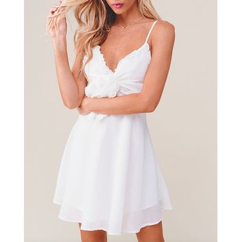 sleeveless front tie ruffled trim baby doll dress in more colors