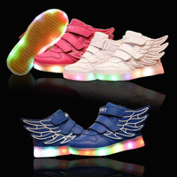Kids Boys and Girls Fashion Luminous LED Light USB Charger Velcro Sneakers Wings Shoes Running Sport Shoes = 1931833796
