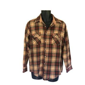 Vintage Men Flannel Shirt Plaid Flannel Brown Shirt Retro Shirt Grunge Flannel Shirt Lumberjack Flannel Men Clothes Men Clothing Button Up