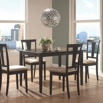 150181N 5 pc geary collection black finish wood dining table set with fabric padded seats