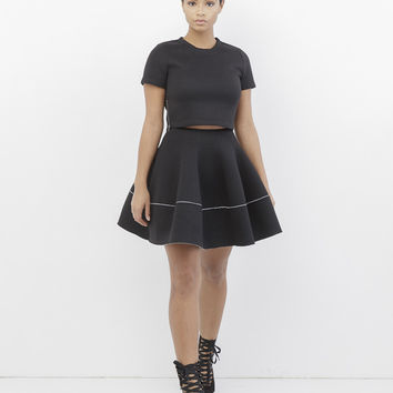 ALEXA SCUBA SKIRT SET - BLACK