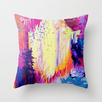 IN TIMES OF CHAOS - Intense Nature Abstract Acrylic Painting Wild Rainbow Volcano Waves Fine Art  Throw Pillow by EbiEmporium