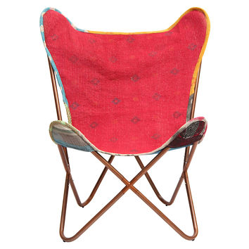 Kantha Butterfly Chair, Coral/Blue, Kantha Throw, Accent & Occasional Chairs