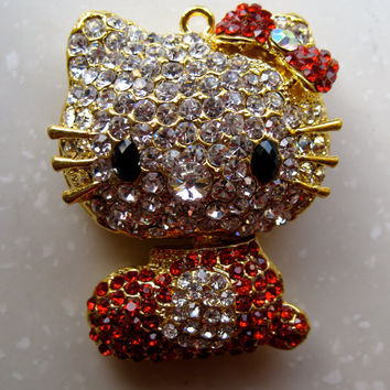 Red Pink Hello Kitty Swarovski Crystal Japan Necklace SALE Handmade Birthday