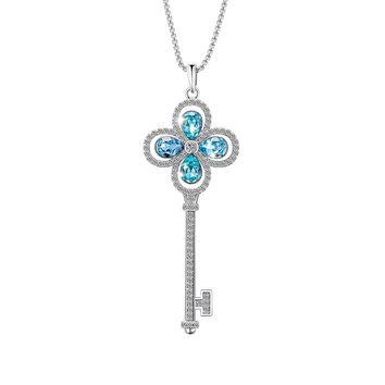 Valentine Day GIfts Four Leaf Clover Fashion Key Pendant Necklace with Blue Swarovski Crystals, Jewelry for Women Gifts for Mom