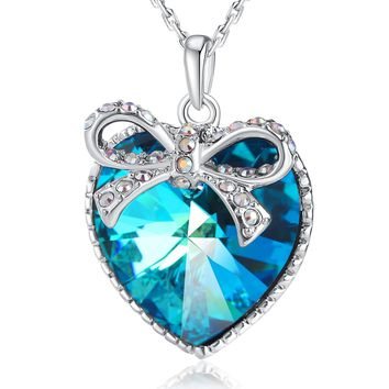 【Gift Packaging】 Woman Gifts Necklace PLATO H Blue Heart Butterfly Necklace Bowtie Crystal Heart Pendant with Swarovski Crystal, Heart Shape Necklace, Ocean Blue Heart Necklace, Jewelry Gift