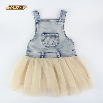 New 2016 Spring Summer Girl Dress Kids Princess Party Lace Dresses Casual Denim Patch Baby Child Sleeveless Tutu Dress For Girl