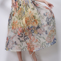 Yellow Floral Leaves Print High Waisted Skirt