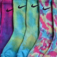 Tie dye nike/vans crew socks for girls and guys
