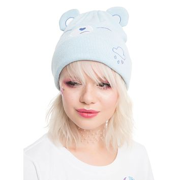 Licensed cool Care Bears Grumpy Bear Face Ears Blue Kawaii Character Watchman Beanie Knit Hat