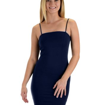 Lyss Loo Hug My Figure Bodycon Navy Midi Dress