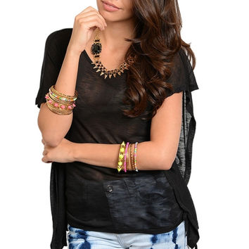 Side Cinched Bat Sleeve Top