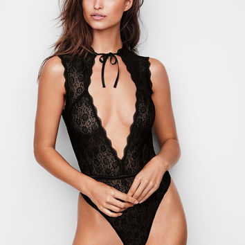 Floral Lace High-neck Teddy - Dream Angels - Victoria's Secret