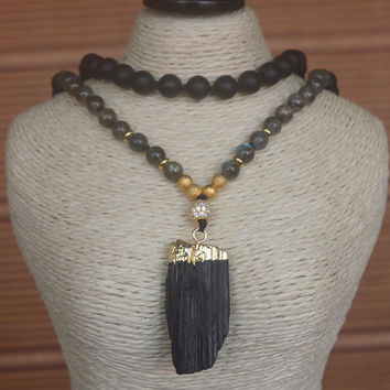Natural Black Tourmaline Pendant & Labradorite Agate Knot Beads Handmade Necklace