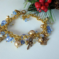 Christmas Charm Bracelet Gold and Blue Crystal Bracelet  Holiday Bracelet  Christmas Jewelry Victorian Style Gift for Her