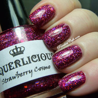 Strawberry Cosmo  Magenta Hologram Glitter by LaquerliciousUnity