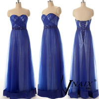 Wedding Party Dresses Sweetheart Lace Up Back Long Chiffon Free Custom Made Size Color Elegant Royal Blue Formal Prom Dresses 2014
