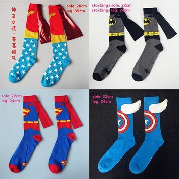 Deadpool Dead pool Taco Women Men Wonder Woman Captain American Batman Superman Costume Stockings Knee-High Socks Cosplay Cotton Calf Socks Sports Sock AT_70_6