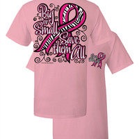Southern Couture Big or Small Save Them All Zebra Pink Ribbon Breast Cancer Awareness Girlie Bright T Shirt