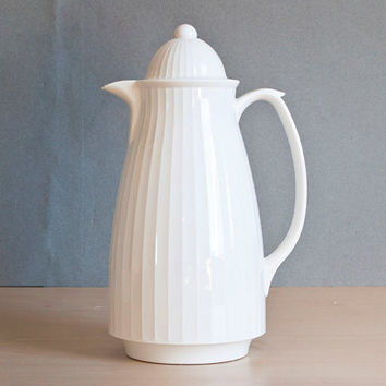 Vintage NEW in Box Crown Corning French White Thermique Coffee Carafe, 1 Quart Hot or Cold Thermos Pitcher, Office or Parties