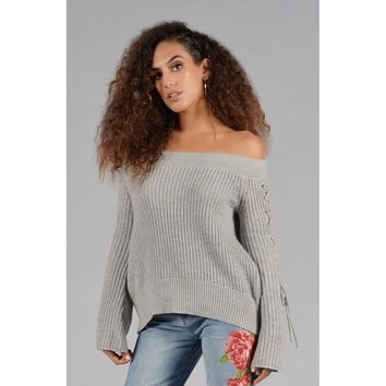 Jamie Knit Sweater w/ Lace Up Sleeves