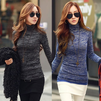 Winter Warm Women Long Sleeve Polo Neck High Neck Stretch Cotton T-Shirt Slim Tops Blouse = 1930370500