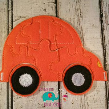 Felt car puzzle embroidered embroidery, jigsaw puzzle, learning toy, activity, quiet game, kids toys, montessori, homeschool, busy book