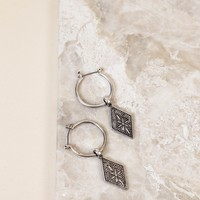 Hoop Earring with Charm, Silver