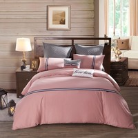 LOVO Relaxing Time 100% Cotton 2-Piece Bedding Set Duvet Cover Sham Twin Pink