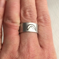 Mountain Range Ring, wide band hand stamped aluminum silver adjustable mountains sunset sunrise hiking unisex birthday graduation gift gifts