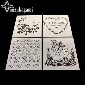 1pcs/lot Masking Plate Handmade Creative DIY Card Making Tools Flower Love Arrowhead Octopus For Painting Jewellery