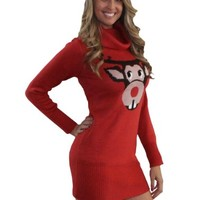 Bucktooth Reindeer Christmas Sweater Dress