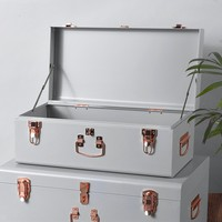 Gray Vintage-Style Steel Storage Trunk Set with Rose Gold Handles - College Dorm & Bedroom Footlocker