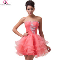 Sweetheart Grace Karin Cocktail Dresses 2016 Sequin Beaded Voile Strapless Vestidos Mini Formal Dress Party Ball Gowns CL6077