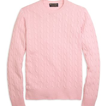 Men's Cashmere Cable Knit Crewneck Sweater | Brooks Brothers