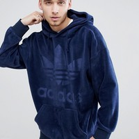 adidas Originals adicolor Velour Hoodie In Oversized Fit In Navy CW1327 at asos.com