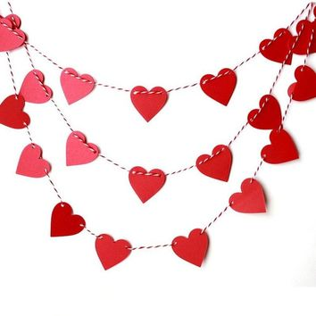 1 Set Paperboard Heart-shaped Garland Bunting Banners & Flags Valentine's Day Party Wedding Room Home Decoration Supplies Random