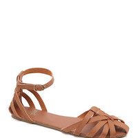 Black Poppy Strappy Ankle Strap Flats at PacSun.com