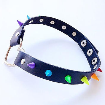 Genuine Leather Heart Pride Choker with RAINBOW Spikes!