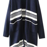 Navy Striped Knit Fall Fashion Cardigan