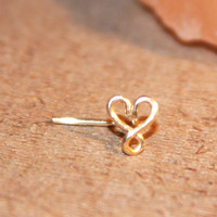Infinity Heart Nose Stud, Valentine Cartilage Stud, tragus cartilage Stud, Tiny Gold Nose Ring, Tiny Nose Ring, Nose Jewelry