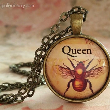 Queen Bee, glass dome necklace, round glass pendant, gift ideas, hostess gift, party favors, Christmas, stocking stuffers, Queen B, Bee Gift