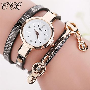 Hot Women's Long Leather Bracelet, Gold Fashion Quartz Watch by Relojes Mujer Relogio Feminino 1657