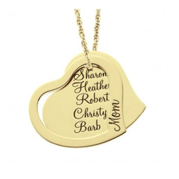 14K Gold Personalized Mother's Heart Pendant