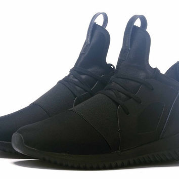 """Adidas"" Tubular Defiant Women Men Black Casual Sports Shoes"
