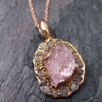 Gemstone Diamond Halo Pendant Raw Rough Uncut Morganite Diamond Rose Gold Halo Pendant Necklace Statement  anniversary byAngeline