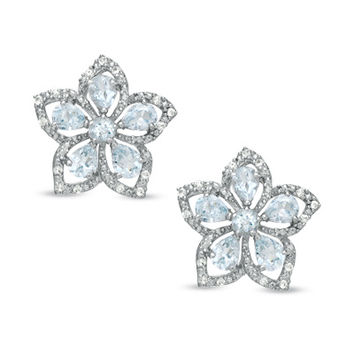 Aquamarine and White Topaz Flower Earrings in Sterling Silver