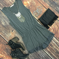 Simply Stated Romper: Grey