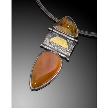 Firestorm Jasper and Pietersite Gemstone Pendant