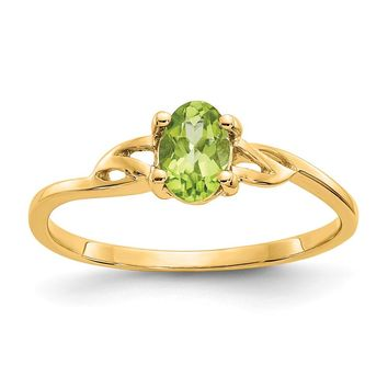 14K Yellow Gold Peridot Birthstone Ring